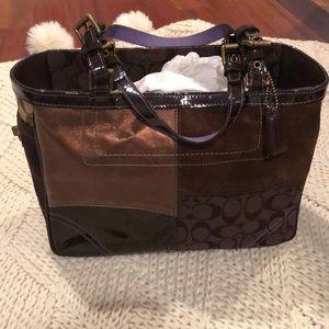 Brown suede, bronze Coach shoulder bag